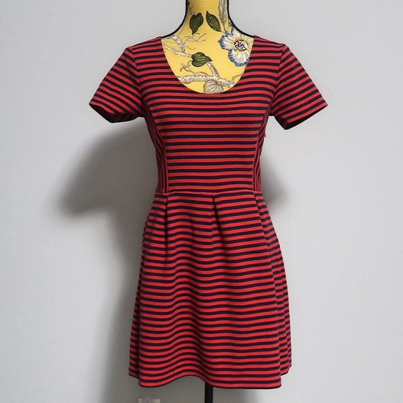 J Crew Factory Red Navy Stripes Dress Size 6